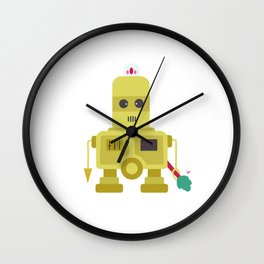 Giant yellow robot with a tree club Wall Clock