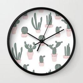 Elegant Cacti in Pots Pattern Wall Clock