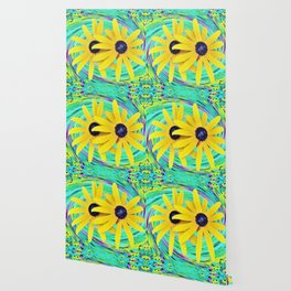 Yellow Rudbeckia Flowers on a Turquoise Garden Swirl Wallpaper