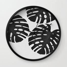 Monstera Black & White III Wall Clock