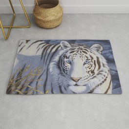 White Tiger with Blue Eyes Rug