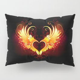 Angel Fire Heart with Wings Pillow Sham
