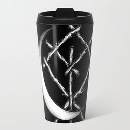 Crescent Moon Rune Binding in Black Travel Mug