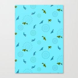 Blue Dolphin and Orca Canvas Print