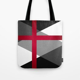 Black and White Triangles // Red Pink Cross (Golden Ration) Tote Bag