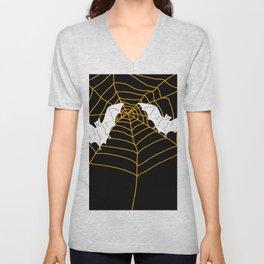 Halloween Orange Spider web with Bats Unisex V-Neck