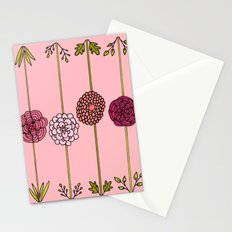 Garden Flowers Illustration - in Pinks Stationery Cards