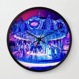 Carousel Merry-Go-Round Pink Purple Wall Clock