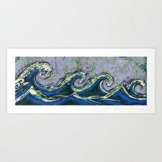 Batik waves 2 Art Print