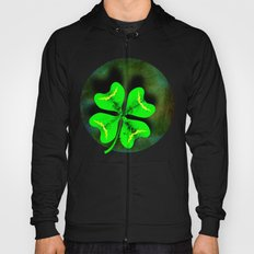 Four Leaf Clover on Green Textured Background Hoody
