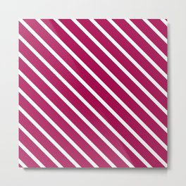 Red Plum Diagonal Stripes Metal Print