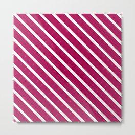 Red Plum Diagonal Stripes Metal Print