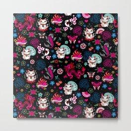 Lucky Cat Maneki Neko , Dragons and Koi fish Metal Print