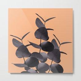 Eucalyptus Leaves Black Orange #1 #foliage #decor #art #society6 Metal Print