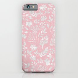 Elegant Silver Glitter Foliage Pink Design iPhone Case