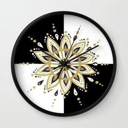 Black & Gold Mandala Geometric Design Wall Clock