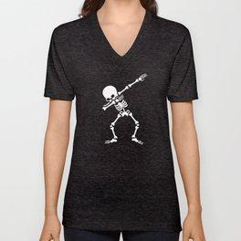 Dabbing skeleton (Dab) Unisex V-Neck