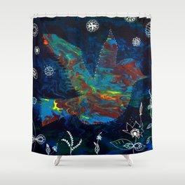 Clarity Acrylic Pour Fluid Art Bird with Flowers Shower Curtain