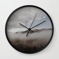 fog Wall Clocks featuring Fog by Bor Cvetko