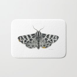 Kintsugi - A Graphite Drawing of a Moth by Brooke Figer Bath Mat