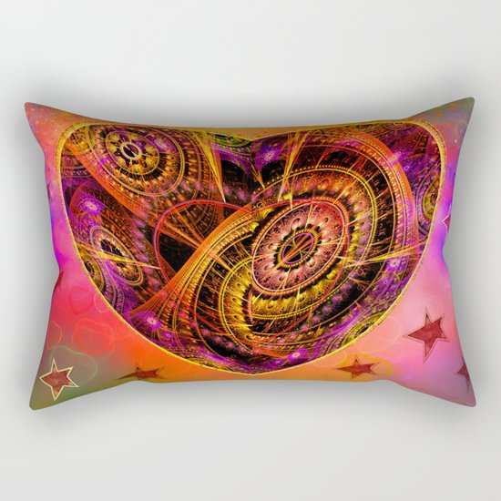 Colourful magical heart with tribal patterns Rectangular Pillow