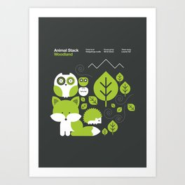 Animal Stack Woodland Art Print