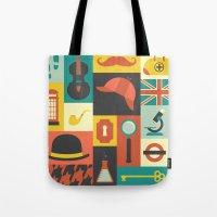 sherlock Tote Bags featuring Sherlock by Ariel Wilson