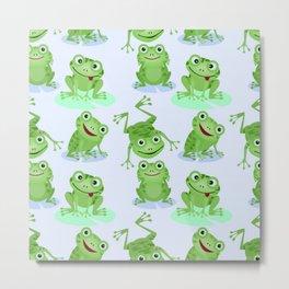 Cute green frogs seamless pattern Metal Print