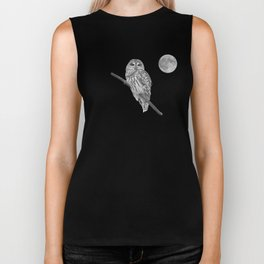 Owl, See the Moon (bw) Biker Tank