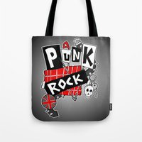 punk rock Tote Bags featuring Punk Rock by Melissa Morrison