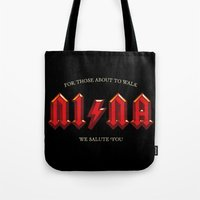 acdc Tote Bags featuring For those about to walk by Quique Ollervides
