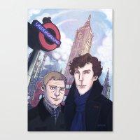 johnlock Canvas Prints featuring London Johnlock by enerjax
