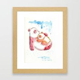 Sleepy Panda Mom & Cub Framed Art Print