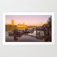 Cityscape London In Winter Art Print