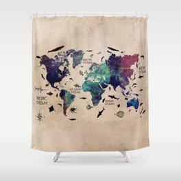 Oceans Life World Map #map #worldmap Shower Curtain