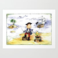 pirate Art Prints featuring Pirate by LolMalone