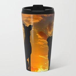 Dogs at Sunset Travel Mug