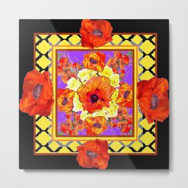 ABSTRACTED BLACK ORANGE-RED POPPIES DECORATIVE FLORAL Metal Print
