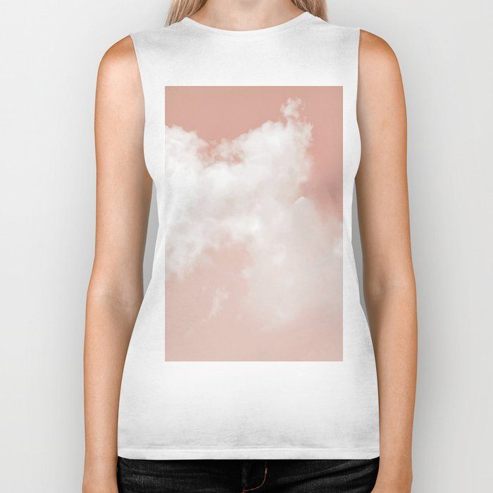 Floating Cotton candy in blush pink Biker Tank
