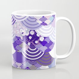 Nature background with japanese sakura flower, Cherry, wave circle. Ultra Violet Color of the Year Coffee Mug