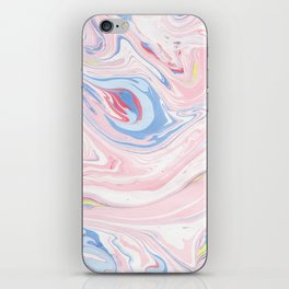 Elegant pastel pink white blue abstract watercolor marble iPhone Skin