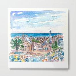 Barcelona Parc Güell Gaudi Dreams And Sea Metal Print