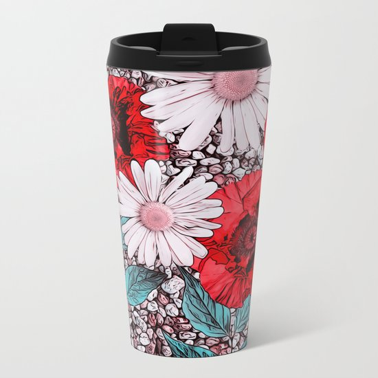 Red Poppies and margarites Metal Travel Mug