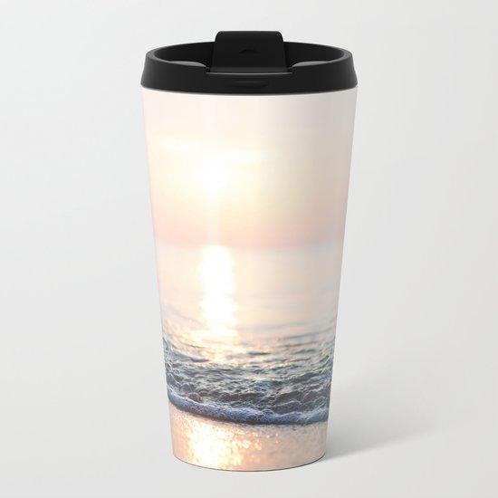 Calm Ocean -ocean, waves, sun, pastel Metal Travel Mug