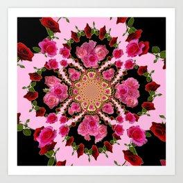 BLACK-PINK GARDEN ROSES MANDALA Art Print