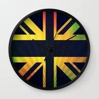 british flag Wall Clocks featuring RASTA BRITISH FLAG by shannon's art space