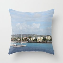 Bonaire Kralendijk Harbor Sailing Boats Throw Pillow