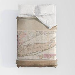1842 Map of Long Island Comforters