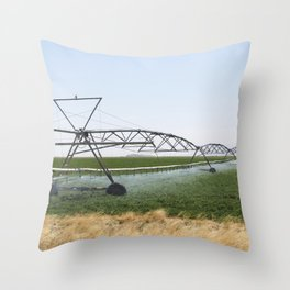 Rolling irrigation sprinkler at work along the road carrying US Highways 62-180 near the New Mexico Throw Pillow