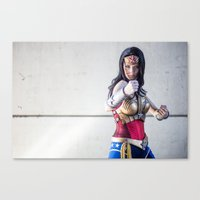 justice league Canvas Prints featuring Katie Cosplays as Justice League Wonder W oman by Long Thai - mineralblu.com